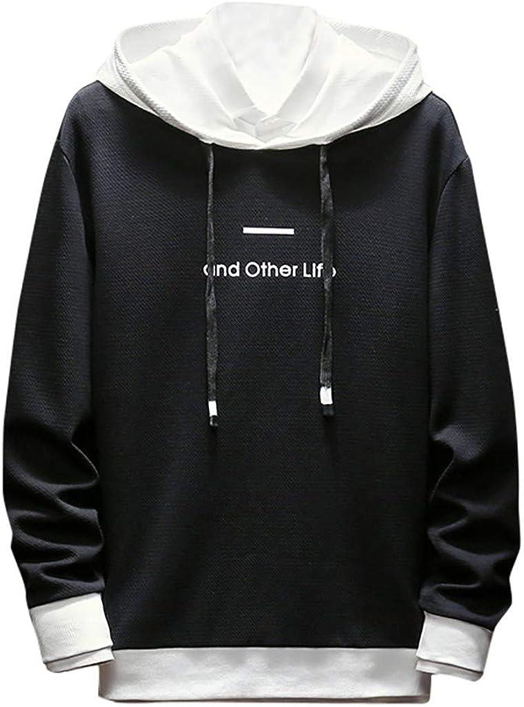 Landscap/_Men Casual Hoodies Cotton Color Block Sports Pullover Soft Hooded Sweatshirt Outwear Sweater