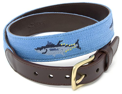 Huck Venture Bluefin Tuna Needlepoint Mens Belt Hand-stitched Using Top Quality Cotton on Full Grain Leather Backing (Size ()