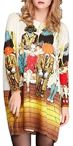 AMGLISE Women's Knit Comfy Fit Halloween Weird Basic Jumper Pullover Sweater,Beige,Medium Dolman Sweater Dress