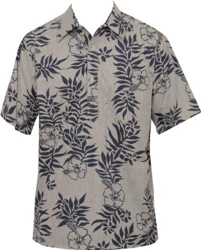 Barefoot Go Mini (Go Barefoot Mens Mini Tahitian Pullover Reverse Cotton Shirt Navy on Khaki 3X)