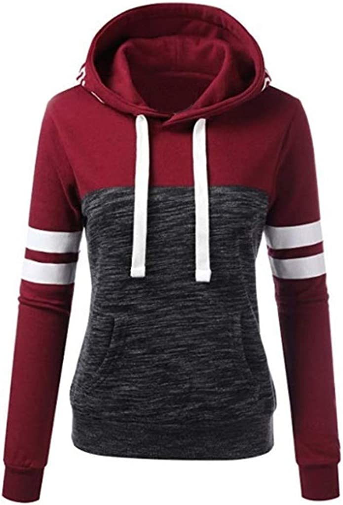 RUIVE Women/'s Hooded Pullover Autumn Love Letter Print Splice Hoodies Drawstring Sweatshirt Girls Loose Tops Blouse