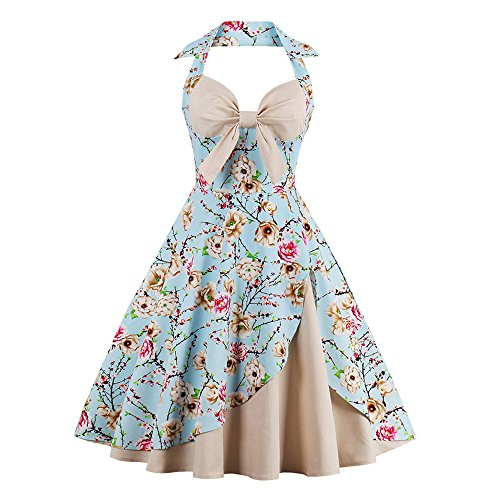 Halter Neckline Sleeveless - ZAFUL Women 1950's Vintage Floral Printing Halter Neckline Sleeveless Retro Party Cocktail Dress