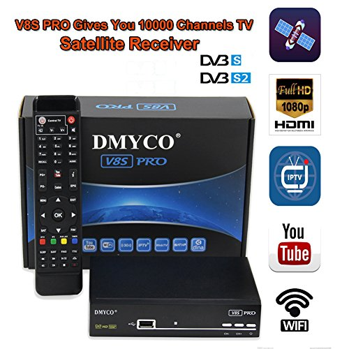 2018 Newest Full 1080P HD FTA Satellite TV Receiver V8S Pro Decoder Free to Air DVB-S2 TV Receptor Support FullPowerVu, DRE &Biss key and USB WIFI to Network Sharing ( Send a WIFI Dongle for Gift)