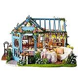 CUTEROOM DIY Miniature Dollhouse Kit Handmade Wooden Dolls House & Furniture Kit - DIY House with Music Box LED Lights