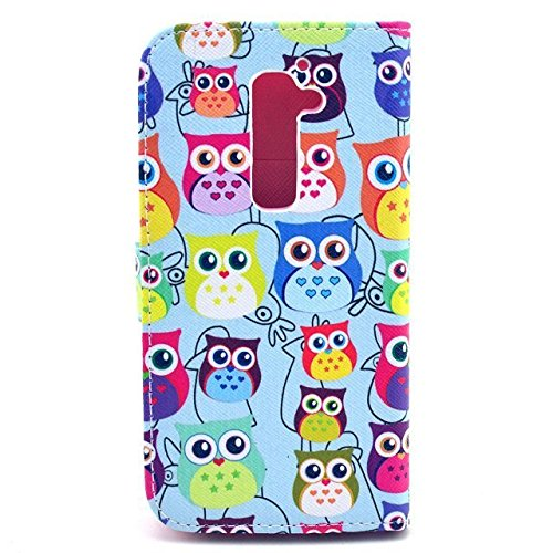 G2 Case,LG G2 Case, Welity Cartoon Bird Owl Flower Wallet PU Leather Cover Case--and one gift