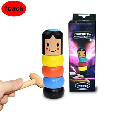 New Immortal Daruma Halloween Magic Tricks Unbreakable Wooden Man Funny Toy Stage Magic Props: Toys & Games