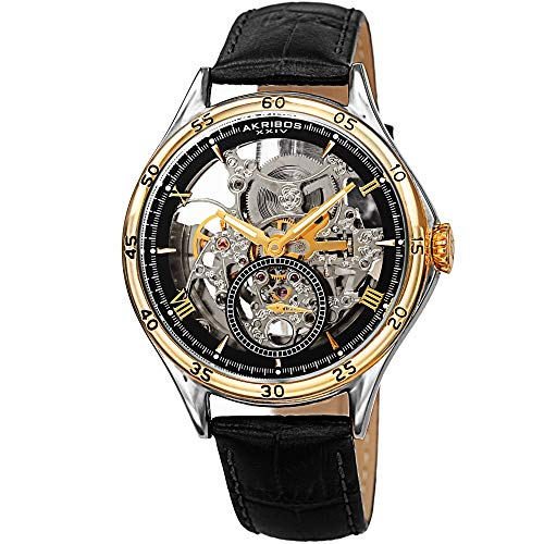 Father's Day Gift - Akribos XXIV Designer Skeleton Men's Watch - Black Leather Embossed Crocodile Strap - Automatic Mechanical Wristwatch with See Through Dial - AK1066BKG