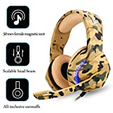 Phoinikas H-3 USB Computer Gaming Headset for PS PC Xbox One Controller Noise Cancelling Over Ear Headphones with Mic LED Light Bass Surround Soft Memory Earmuffs for Laptop Mac Nintendo (Color)