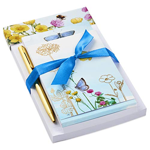 Hallmark Notepad Bundle with Pen, Marjolein Bastin Butterflies and Flowers (3 Notepads in Assorted Sizes with Gold Pen)