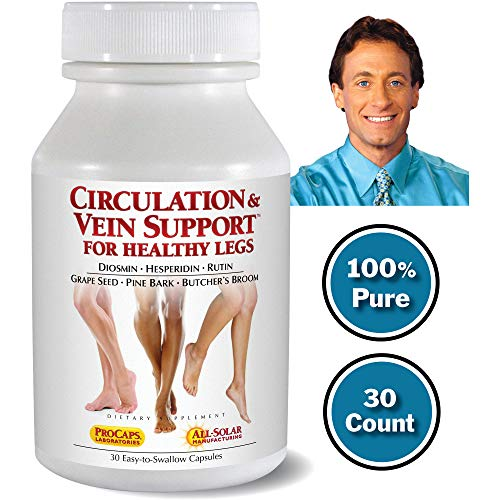 Andrew Lessman Circulation Vein Support for Healthy Legs 30 Count - High Bioactivity Diosmin Natural Oxidants Butcher's Broom Visibly Reduces Swelling and Discomfort in Feet, Ankles, Calves and Legs (Best Vitamins For Poor Blood Circulation)