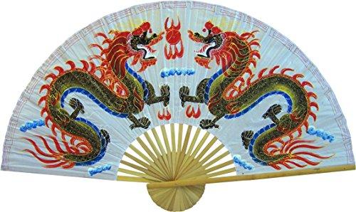 Oriental-Decor Medium Folding Wall Fan - White Dragons