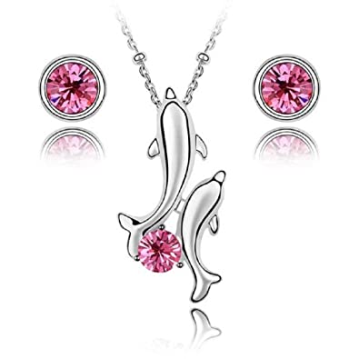"""1a5d96beb0d Image Unavailable. Image not available for. Color: Crystals from Swarovski  Dolphins Set Pink Rose Pendant Necklace 18"""" Stud Earrings 18 ct White"""