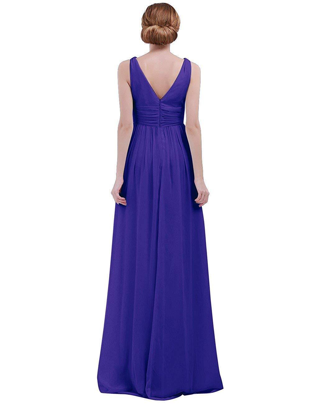 Bleu Royal Taille UK 10     6 MJY Mode féminine sans hommeches col en V profond en mousseline de soie demoiselle d'honneur robe de soirée,corail,Taille UK 14     10