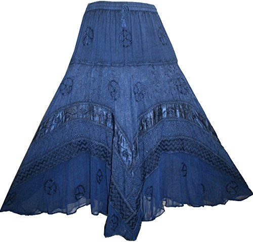 (Agan Traders 704 SK Dancing Gypsy Embroidered Twirl Long Renaissance Skirt (Large/X-Large, Blue))