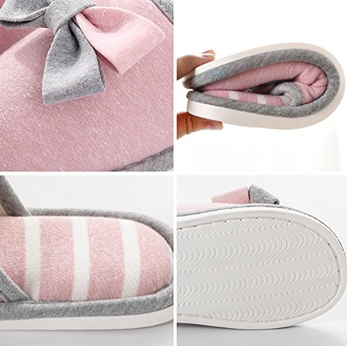 Cattior Womens Cotton Bow House Slippers Indoor Bedroom Slippers Red 7WhwI