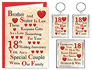 brother sister in law 18th wedding anniversary gift set card 2 keyrings fridge magnet a little something for a special couple on your porcelain