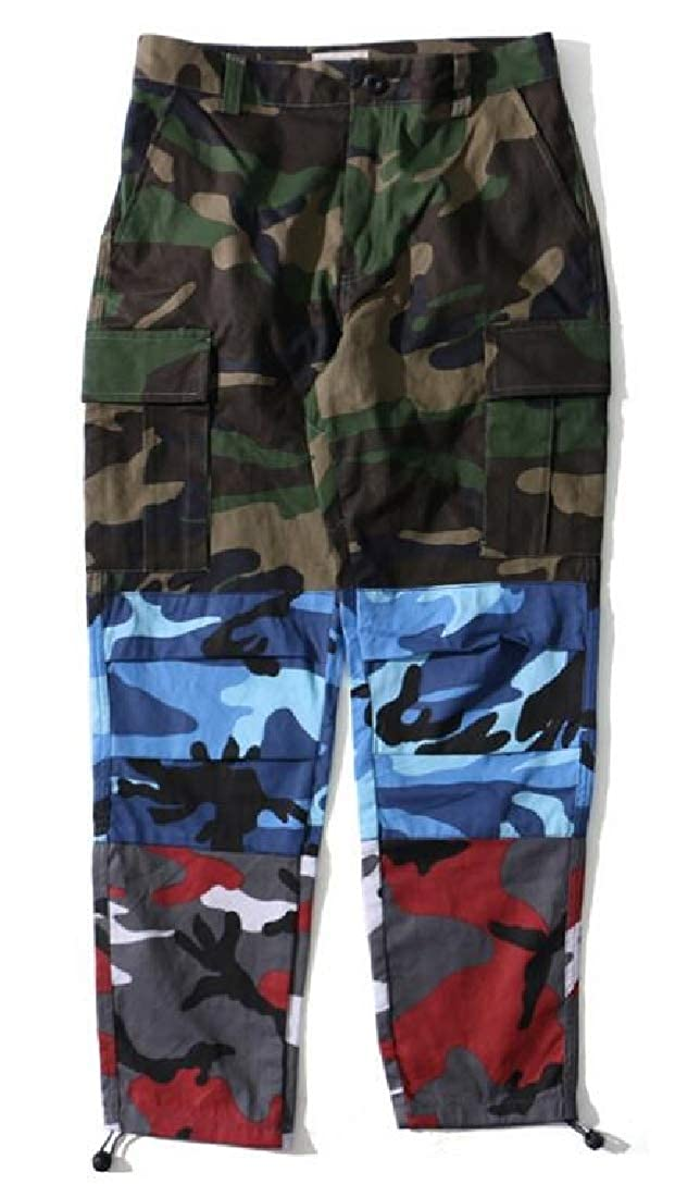 Beloved Mens Vintage Camouflage Cargo Pant Windproof Multi-Pocket Work Pants
