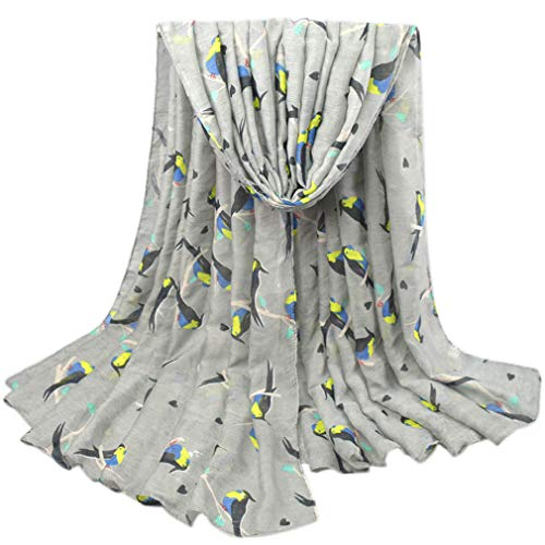 Chic-Dona Fashion Bird Pattern Scarf Women Long Scarves Shawls Winter Pashmina Viscose Mujer Femme V10A18423 Grey by Chic-Dona