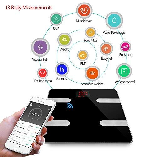 Bluetooth Body Fat Scale, Smart Wireless Weight Scale - Digital Bathroom Body Composition Monitor, Health Monitor with iOS & Android APP Control for Body Weight, Fat, Water, BMI, BMR, Muscle Mass