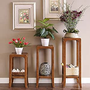 Living Room Solid Wood Flower Frame Balcony American Style Flower Pot Shelf Chinese Wooden Flower Rack ( Size : Large 320320900MM )