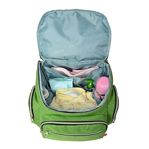 Genda 2Archer Mochila de Viaje Multifunción Pañal del Pañal del Bebé Bolsa Mochila Momia (38cm * 18cm * 38cm) (Rojo) Verde