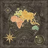 """Old World Journey Map Black II by Cynthia Coulter - 16"""" x 16"""" Giclee Canvas Art Print"""