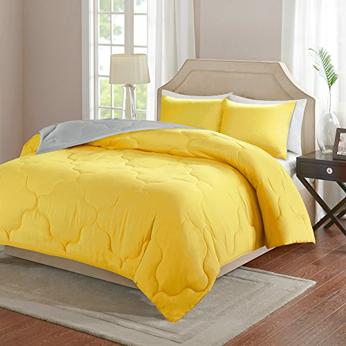 Comfort Spaces – Vixie Reversible Down Alternative Comforter Mini Set - 3 Piece – Yellow and Grey – Stitched Geometrical Pattern – Full / Queen size, includes 1 Comforter, 2 Shams (Gray Bedding Blue Yellow)