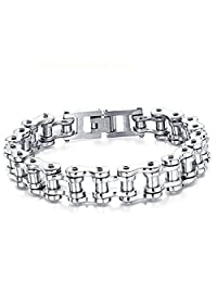 Feraco Cool Stainless Steel Motorcycle Biker Chain Bracelet Rock Link Wristband Necklace,8.4 Inch