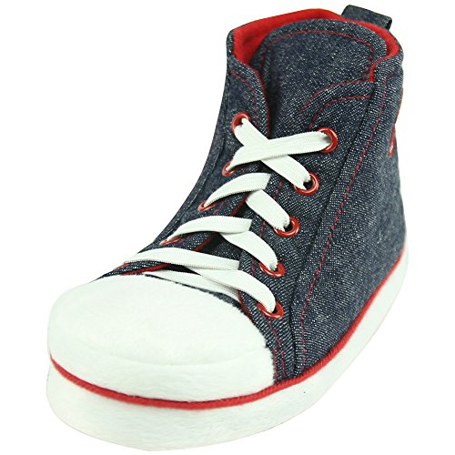 (Forfoot Unisex Big Boy's Girl's Winter Warm Fashion High-top Sneakers Comfy Mules Anti-Slip Indoor Slippers Navy Blue&Red US Big Kids 2)