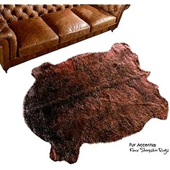 Amazon Com Fur Accents Brown Buffalo Hide Area Rug Faux