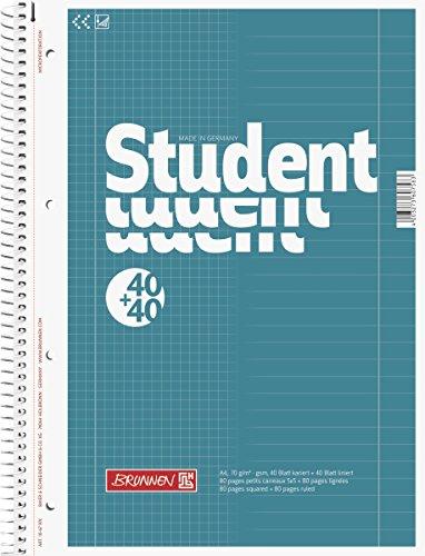 Brunnen 1067974 Notizblock / Collegeblock Student Duo (A4 liniert (Lineatur 27, Lineatur 28) 70g/m² 40 Blatt liniert, 40 Blatt kariert)