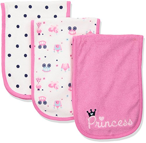 Polyester Terry Cloth (Gerber Baby Girls 3 Pack Terry Burp Cloth, Princess, One Size)