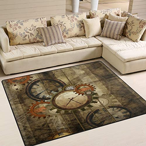 ALAZA Vintage Steampunk Clock Gear Artwork Area Rug Rug