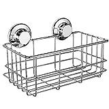 SANNO Bathroom Shower Caddy, Deep Basket Shelf with Suction Cups,Bath Organizer Kitchen Storage Basket for Gel Holder Bathroom Storage Shampoo, Conditioner - Stainless Steel