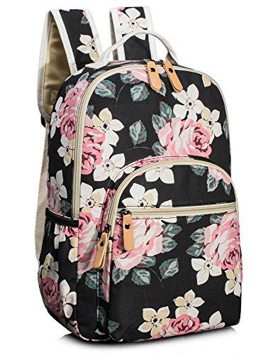 Leaper Cute Floral School Backpack for Girls Travel Bag Bookbags Satchel Black