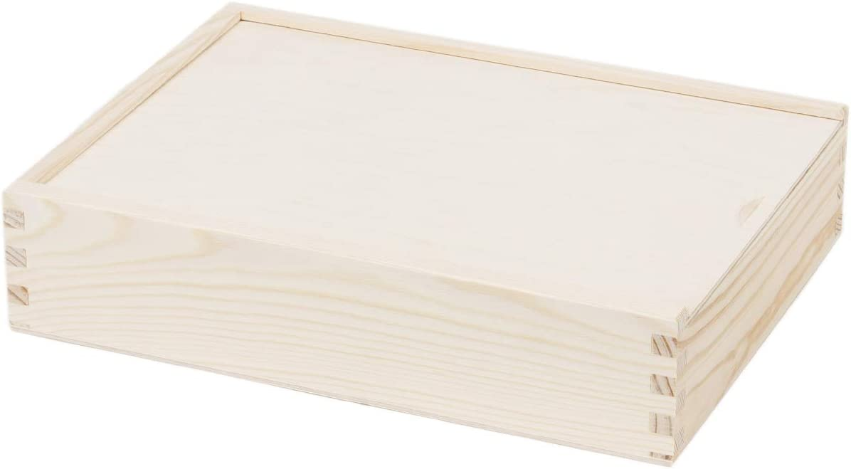 Foto caja fotográfico 21 x 28 cm tapa deslizante Caja Madera Caja para guardar: Amazon.es: Hogar