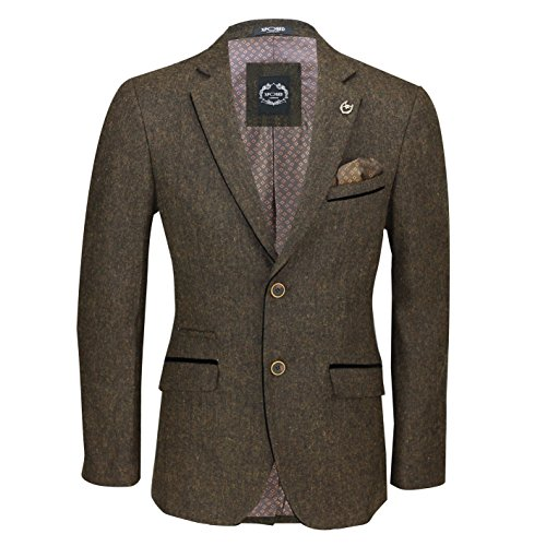Xposed Mens Vintage Wool Blend Tweed Blazer Designer Smart Slim Fit Jacket with Black Elbow Patch [Brown,Chest UK 38 EU…