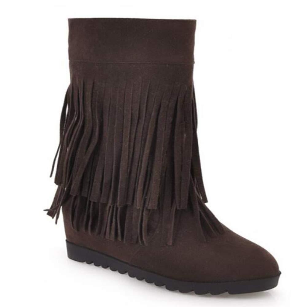 CITW Herbstliche Weibliche Stiefel Tassel Stiefel Im Inneren Erhöhen Peeling Weibliche Stiefel Warme Stiefel,braun,UK4 EUR38