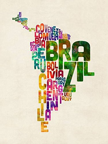 Imagekind Wall Art Print Entitled Typography Map of Central and South America by Michael Tompsett   16 x 21