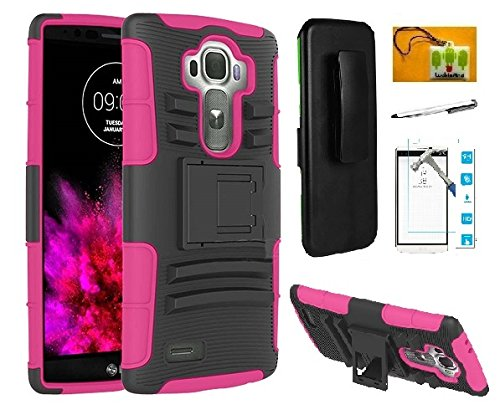LG V10 G4 Pro (Boost Mobile), LF Hybrid Armor Stand Case with Holster and Locking Belt Clip, Stylus Pen, Tempered Glass Screen Protector & Wiper Accessory (Holster Pink)