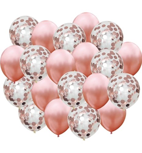 Rose Gold Balloons, Rose Gold Confetti Balloons 22 pack, 18 inch Pre filled Rose Gold Confetti Balloons for Bridal Shower Decorations, Birthday Party Decorations