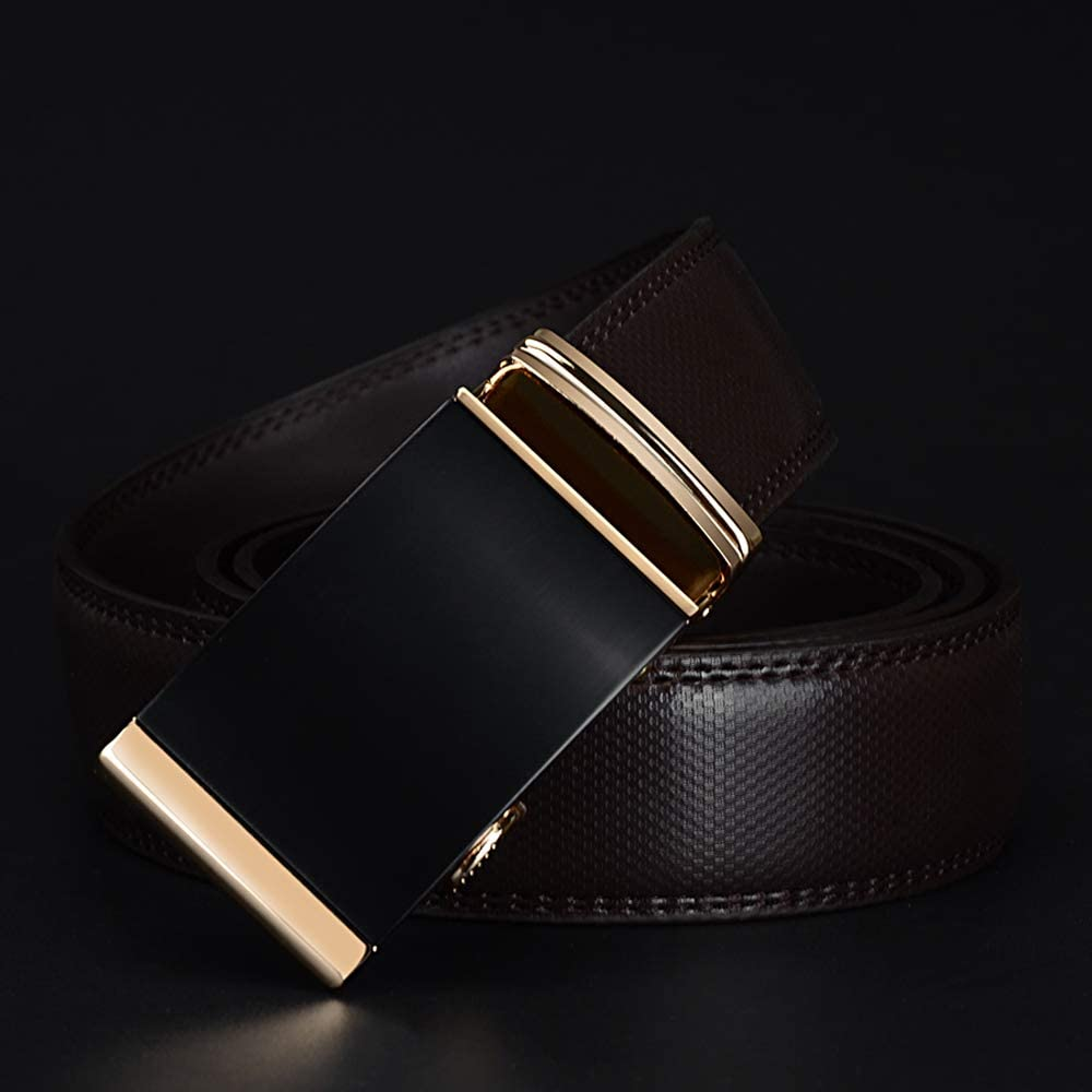 Mens Gold Automatic Ratchet Buckle Fashion Luxury Dress Belts Waist 30-44