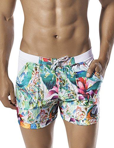 Clever 0604 Colombia Tropical Swimsuit Trunk Color White Size Large