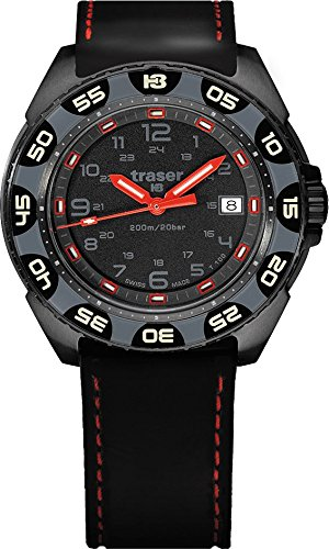 Traser P49 Red Alert T100 Watch with Rubber Strap