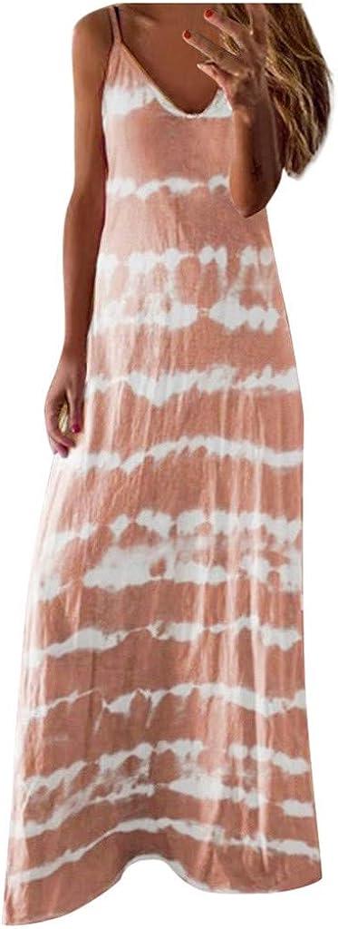 Toimothcn Women's Camis Long Dress Spaghetti Straps Striped Printed Loose Casual Maxi Dress
