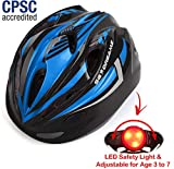 Toys : KIDS Helmet - Adjustable from Toddler to Youth Size, Ages 3 To 7 - Durable Kid Bicycle Helmets with Fun Racing Design Boys and Girls will LOVE - CSPC Certified for Safety (K12-3LightBlackBlue)