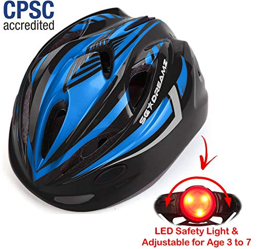 (KIDS Helmet - Adjustable from Toddler to Youth Size, Ages 3 To 7 - Durable Kid Bicycle Helmets with Fun Racing Design Boys and Girls will LOVE - CSPC Certified for Safety (K12-3LightBlackBlue))