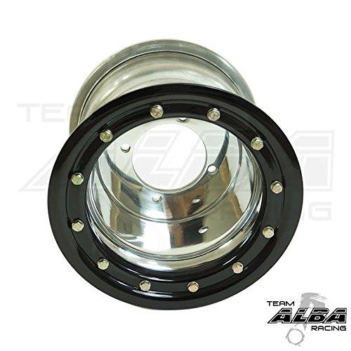 Honda TRX 450R TRX 400EX Beadlock Set of 4 Wheels Rims Rear 9x8 Front 10x5 Polished / Black by Alba Racing (Image #1)