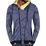 POHOK Clearance Deals ! Men's Casual Autumn Zipper Hooded Sweatshirt Outwear Tops Blouse