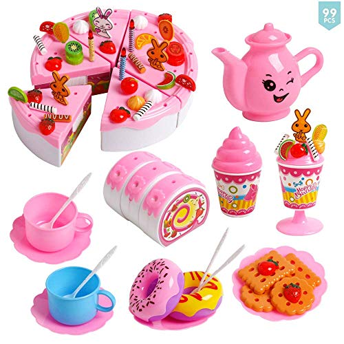 JCREN Pretend Birthday Cake Food Toy for Kids,DIY 99pcs Girl's Decorating Party Play Food Set Educational Kitchen Cutting Toy Candles Fruit Dessert for Children Toddlers 3 4 5 Year Old (Pink) ()